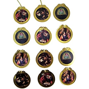 Assorted Holy Family Nativity Gold Bordered Epoxy Christmas Ornaments, Set of 12, 3 Inch (Round)