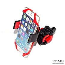 Bike Phone Mount, FOME Universal Bike Phone Holder Cradle Bicycle Mount for Cell Phone Smartphone iPhone 6s 6 Samsung Galaxy Note 5 360 Degree Rotation Black+FOME Gift