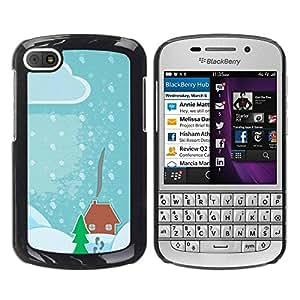Paccase / SLIM PC / Aliminium Casa Carcasa Funda Case Cover para - Drawing Kids Christmas Snow Blue - BlackBerry Q10