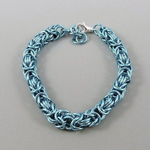 Pale Blue Byzantine Chainmaille Bracelet Chainmail - Byzantine Chainmaille Link