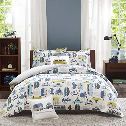 - 4pc Kids Blue White Car Themed Full Queen Duvet Cover Set, Cotton, Novelty Yellow Grey Bus Cars Scooter Trailer Trees Camping Road Trip Signs Mountains Automobiles