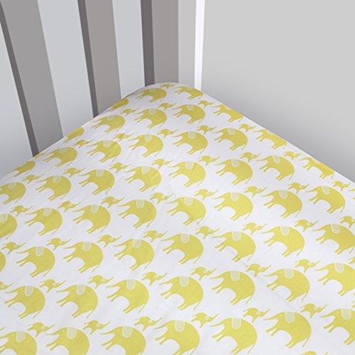 Magnolia Organics Elephant Crib Sheet - Standard, Wheat
