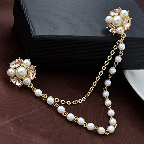 Champagne Tone Crystal Pearl Daisy Flower Brooches Pins with Pearl Chain Tassel Sweater Guard Clip Pin by OBONNIE (Image #1)