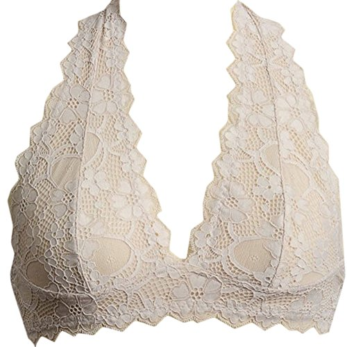 Nude Lace Bustier (Marilyn & Main Women's Scalloped Lace Halter Bralette (Medium, Nude))