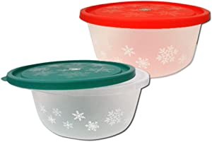 Christmas Holiday Round Storage Containers - Seasonal Snowflake Frosted Design Plastic Tubs for Treats or Food - 2 Pack Set
