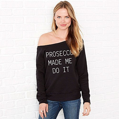 60 Second Makeover Limited Prosecco Made Me Do It Schulterfrei Schwarz Lässige Bluse Friend Geschenk Top T-Shirt