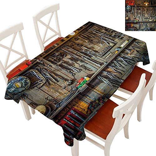 Anyangeight Man Cave Decor Flow Spillproof Fabric Tablecloth Vintage Tools Hanging On A Wall in A Tool Shed Workshop Fixing Equipment Tablecloth Thick Original RestaurantMulticolor 60