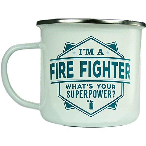 H & H Top Guy Mug Fire Fighter, Large Camping Coffee Mug, Enamel, 14 oz, Multi-Colored, Light-weight, Retro Inspired for Men and Women