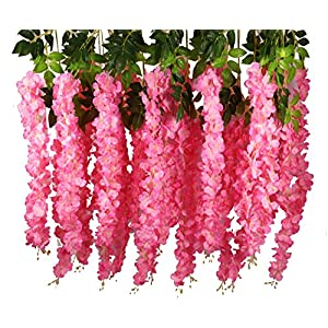 Lannu 12 Pack 3.6 FT Artificial Fake Hanging Wisteria Vine Ratta Silk Flowers String for Home Wedding Party Decor 108