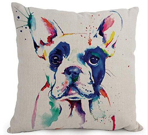 (Acelive 18 x 18 Inches Cartoon Lovely Animal Abstract Oil Painting Adorable Pet Dogs Boston Terrier Throw Pillow Covers Cushion Cover Decorative Sofa Bedroom Living Room Square)