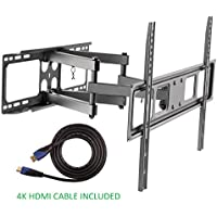 Jestik Articulating Full Motion TV Wall Mount For Most 37-70 LED, LCD Flat Panel TVs, Plus 4K High Speed HDMI Cable JM-L67