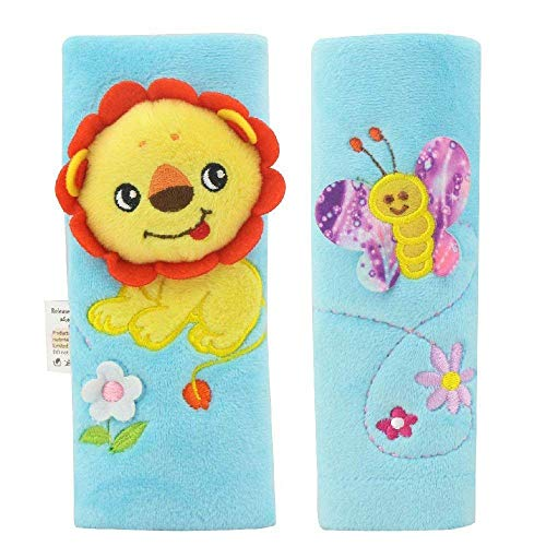 Infant Stroller Shoulder Pads - Toddler Booster Seat Belt Cover Child Carseat Strap Cover Bule Lion and Bee for Baby Boys