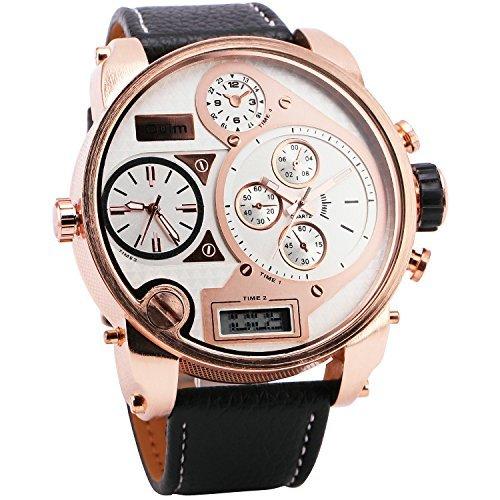 Oulm Men Digital Quartz Watch 3 Time Sub Dials Leather Strap Rose Gold Oversize Case Military Japan Movement Luxury Design   Box