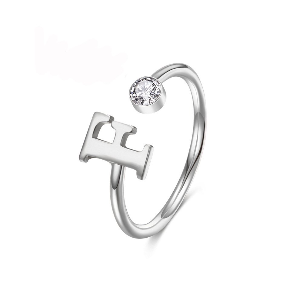 MANZHEN Personalized Silver Initial Letter Ring A-Z Stackable Ring