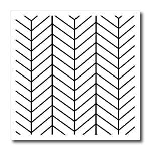 ht_179812_1 InspirationzStore patterns - Black and white herringbone pattern - arrow feather inspired design - Iron on Heat Transfers - 8x8 Iron on Heat Transfer for White Material