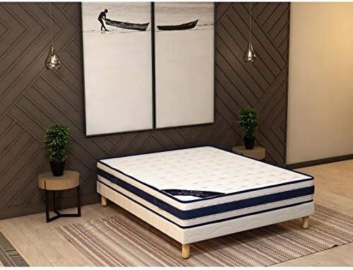 Conjunto de colchón y somier tapizado, 140 x 190 x 25 cm ...