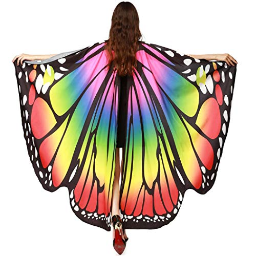 FEITONG Halloween Women Butterfly Wings Shawl Scarves Ladies Nymph Pixie Poncho Costume Accessory, 168x135cm(168x135cm,A-Multicolor)