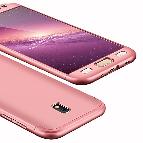 Galaxy J7 Pro Case, Ranyi [Full Body 3 in 1] [Slim & Thin Fit Tightly] [360 Degree Protection] Hybrid Bumper 3 in 1 Hard Case for Samsung Galaxy J7 Pro International Version (2017), Rose Gold ()