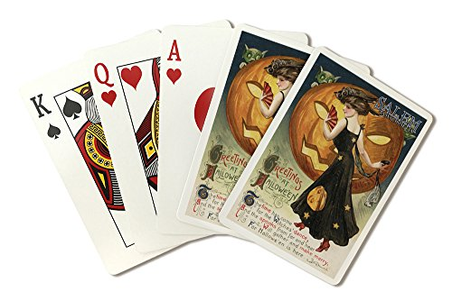 Salem, Massachusetts - Halloween Greeting - Witch Dancing and Pumpkin - Vintage Artwork (Playing Card Deck - 52 Card Poker Size with Jokers)