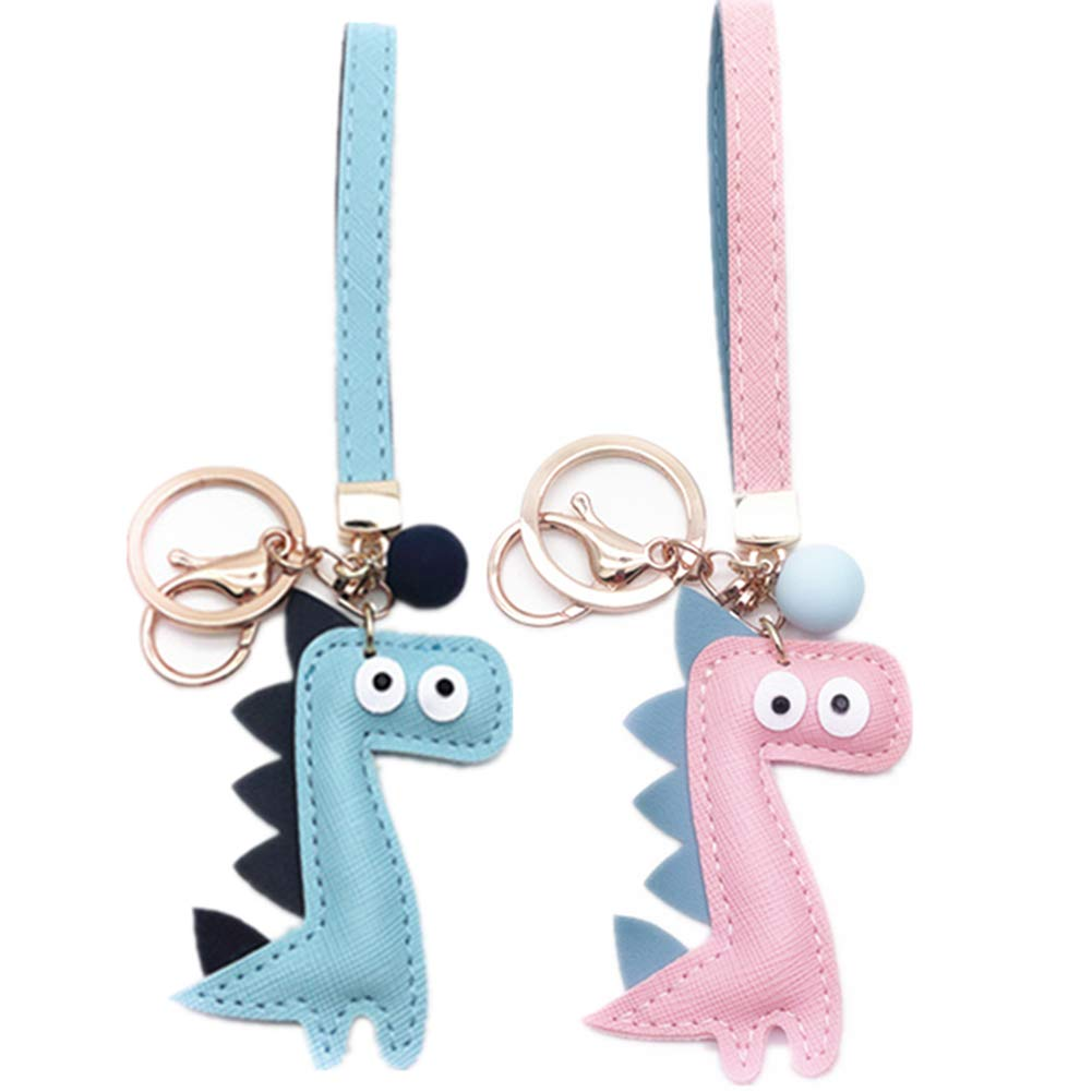 MUAMAX Dinosaur Key Chains for Women Girl Girlfriend,Bag charm,Keychain for Car Keys,Gift for Her (Pink+Blue)