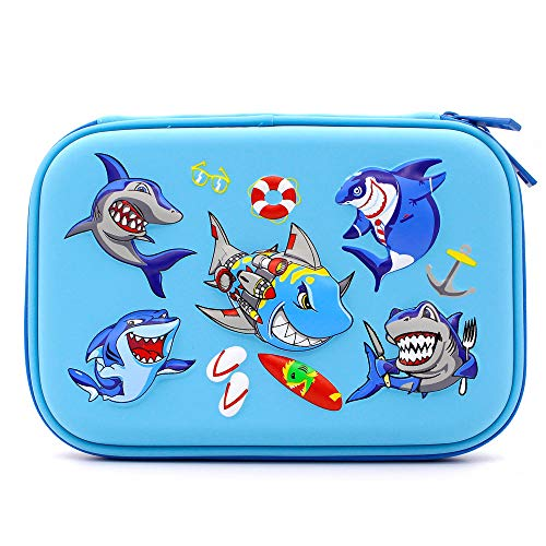 Angry Shark Boys Cool Pencil Case - Large Capacity Hardtop Pencil Box with Compartments - Colored Pencil Holder School Supply Organizer for Kids Girls Toddlers Children (Light Blue)