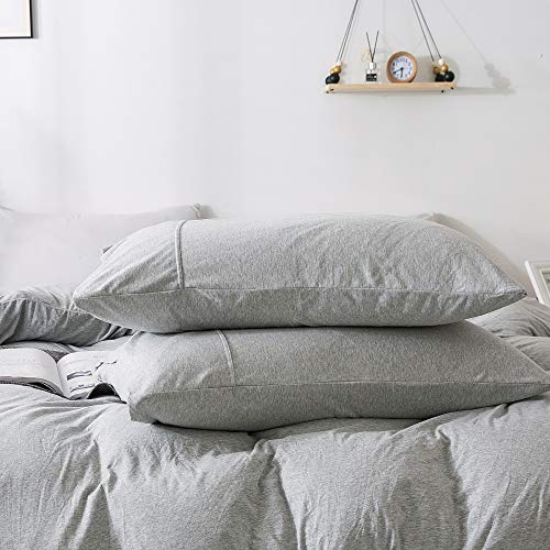 KAIANG Jersey Cotton Pillowcase (20x30 Inch), Super Soft Set of 2 Queen Size.(Grey) ()