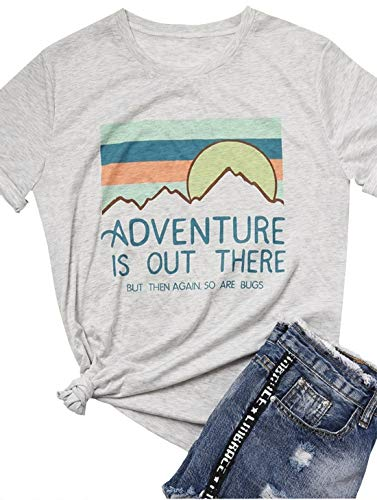 kikisa Adventure is Out There But Then Again So are BugsT-Shirt Short Sleeve Casual Top (Small, White)