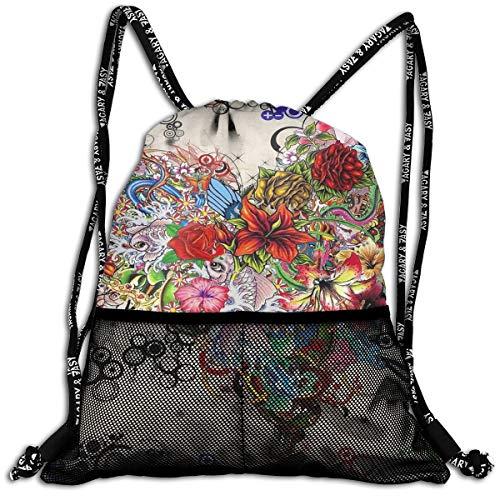 Mens Women Drawstring Bag Theft Proof Lightweight Beam Backpack, Swim Cinch Sackpack - Flowers Heart Waterproof Backpack Soccer Basketball Bag ()