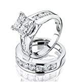 Princess Cut Diamond Engagement Ring and Wedding Band Set 1/2 Carat (ctw) in 10K White Gold (white-gold, 7)