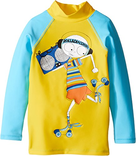 Little Marc Jacobs Baby Boy's Swimsuit Long Sleeve Tee Shirt (Toddler/Little Kids) Jaune/Bleu Swimsuit Top Marc Jacobs Suits