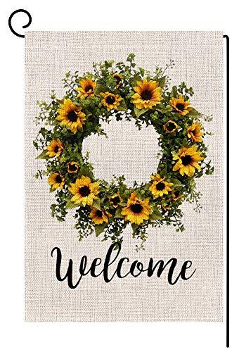 (Welcome Sunflower Wreath Small Garden Flag Vertical Double Sided 12.5 x 18 Inch Summer Farmhouse Burlap Yard Outdoor)
