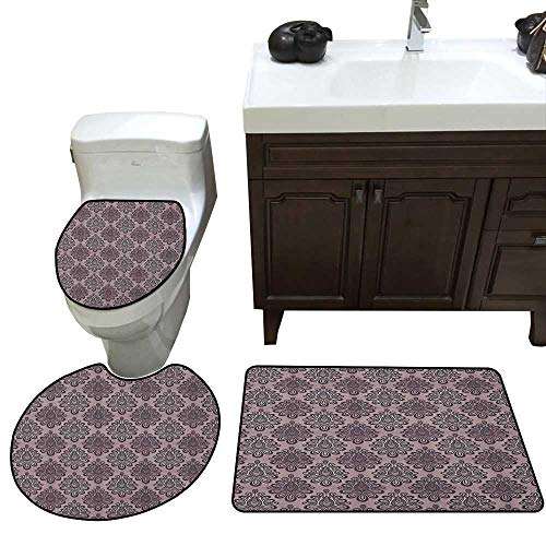 (Traditional 3 Piece Toilet Mat Set Damask Style Grey Motifs with Little Dots and Curly Leaves Vintage Art Contour Rug for Home Decor Mauve Charcoal Grey)