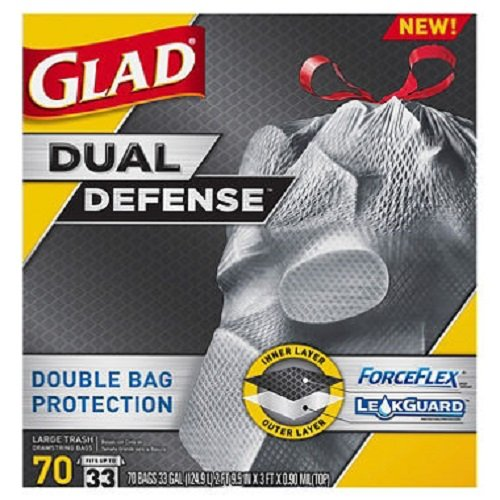 Glad ForceFlex Dual Defense Large Drawstring Trash Bags (33 gal., 70 ct.) by Europe Standard