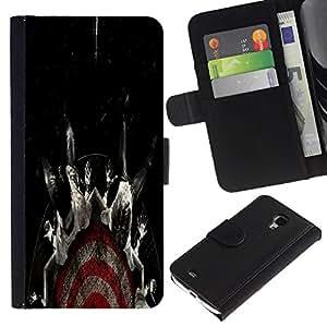 All Phone Most Case / Oferta Especial Cáscara Funda de cuero Monedero Cubierta de proteccion Caso / Wallet Case for Samsung Galaxy S4 Mini i9190 // Target Fear Black Dark