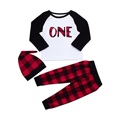 Kehen 3pcs Newborn Baby Boy Girl Winter Cotton Shirt Tops+Plaid Long Pants+Hat Outfits Clothes Set