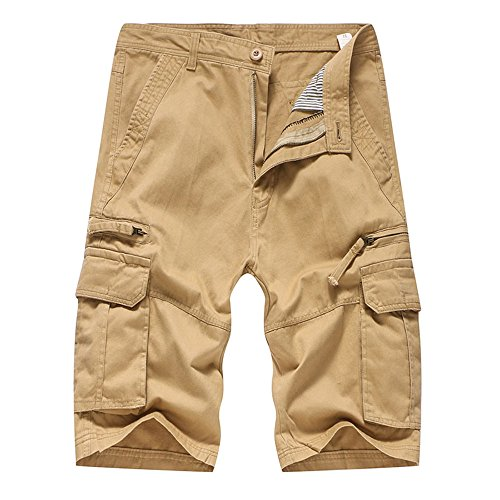 Realdo Men's Solid Shorts, Casual Pure Color Outdoors Pocket Work Trouser Cargo Pant(Khika,33) (Free Patons Patterns Wool)