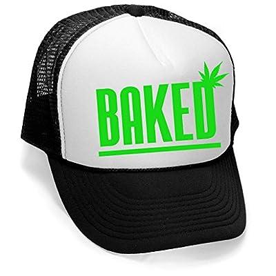 Men's Baked Weed Leaf Hat V358 Hat Black/White Trucker Hat