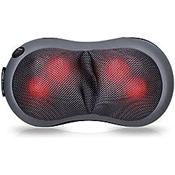 Snailax Shiatsu Massage Pillow, Neck Shoulder Back Massager Heat, Portable Massage Chair Pillow Full Body Home Office Car use