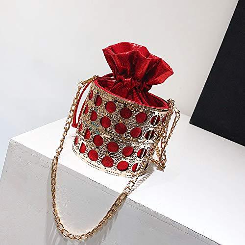Rouge Mode Mode personnalité bandoulière Femme Sac feu Messenger Sac métal Sac à Sac Super chaîne de Seau marée WSLMHH zqnSUxfFx