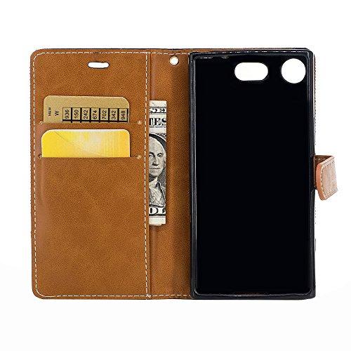 Sony Xperia XZ1 Compact1 Funda,Grandcaser Sastre Denim Flip Cover Cartera Carcasa con función de soporte y Portátil Correa Ranura de Tarjeta Cierre Magnético para Sony Xperia XZ1 Compact1-Verde Negro