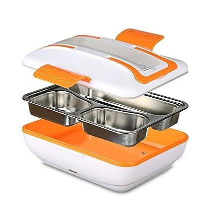 KEMAI Fiambrera Eléctrica Lunch Box Comida térmico con Bandeja extraíble acero inoxidable 220V(Naranja)