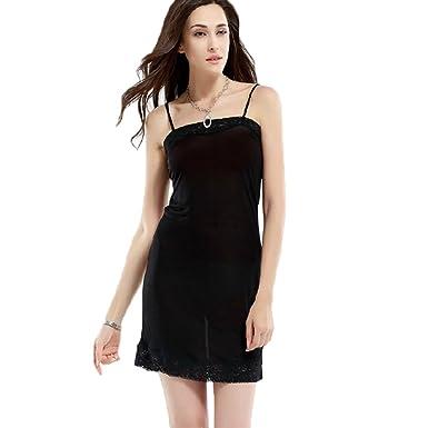 2a80b291672b5 Hoffen Womens 100% Silk Full Slips Dress Lace Petticoat Underdress (M,  Black)