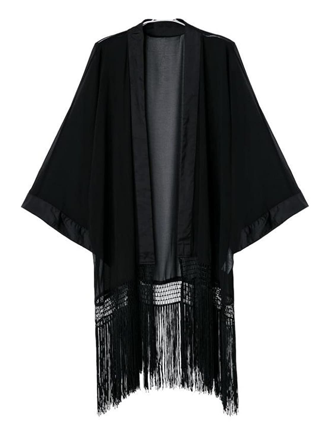 1920s Style Wraps Plus Size Tassel Long Loose Kimono Cardigan Black $15.99 AT vintagedancer.com