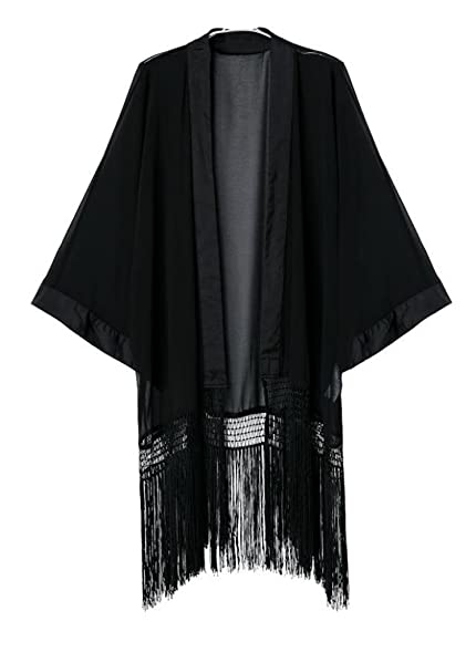 Olrain Women's Plus Size Tassel Long Loose Kimono Cardigan Black ...