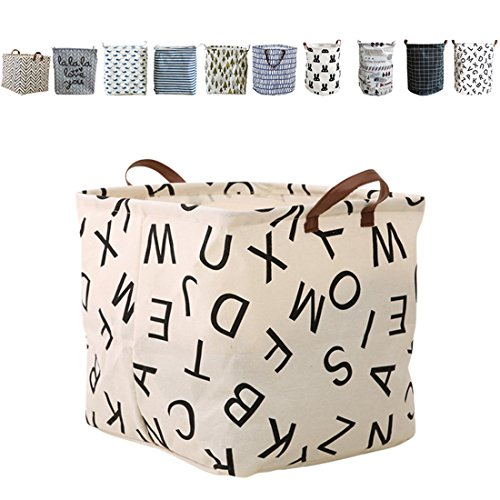 FUNNYGO Square Storage Bin ,Ramie Cotton/ Canvas Fabric Folding Storage Basket With Handles- Toy Box/ Toy Storage/ Toy Organizer for Boys and Girls - Laundry Basket/ Nursery Hamper (Square alphabet)