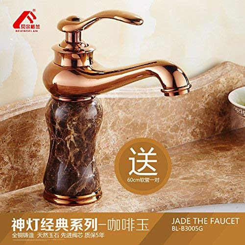 4 Oudan European faucet pink gold basin of hot and cold natural Green Jade Sinks Faucets full copper wash basin mixer, of God Light Classic pink gold Series coffee-ok (color   4)
