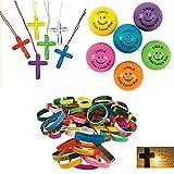 BizzyBecca 197 Piece Religious Christian Theme Party Favors Gift Bundle Set for Kids