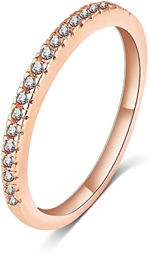 GENUINE CZ ETERNITY ROSE GOLD STACKING RING PRETTY WITH WEDDING BAND SIZE SALE