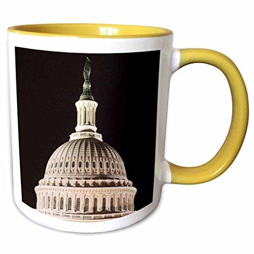 3dRose Danita Delimont - Washington DC - USA, Washington DC, Icons along the Mall, Capitol dome - US09 LFO0202 - Lee Foster - 11oz Two-Tone Yellow Mug - Malls Outlets Dc Washington