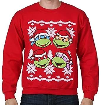 Teenage Mutant Ninja Turtles Faces Adult Red Ugly Christmas Sweatshirt (Adult Small)